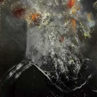 Static Fire - Oil and spaypaint on canvas - 40 x 30 cm